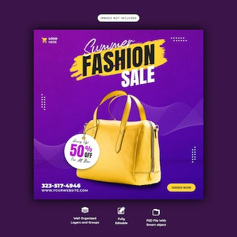 Summer fashion sale instagram post template