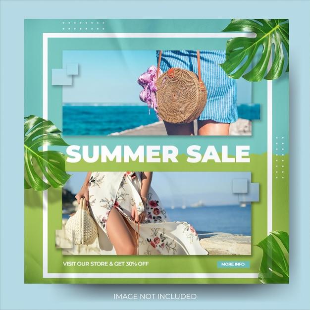Summer fashion sale instagram social media banner post feed