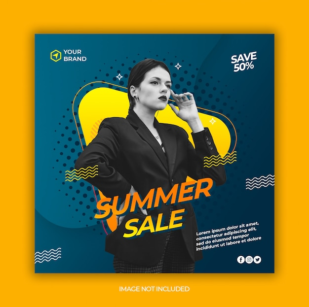 Summer fashion sale social media and square web banner