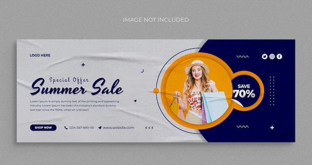Summer fashion sale social media web banner and facebook cover design template