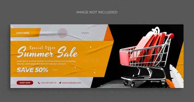 Summer fashion sale social media web banner flyer and facebook cover design template