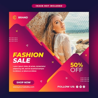Summer fashion sale social media and web banner template