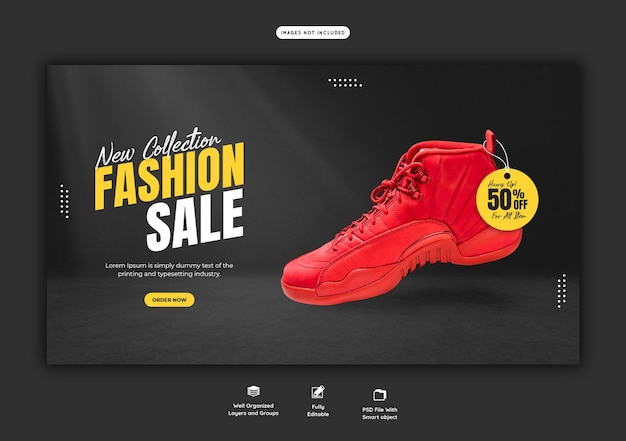 Summer fashion sale web banner template