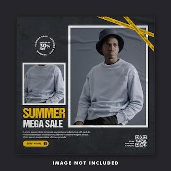 Summer fashion social media post banner template Premium Psd