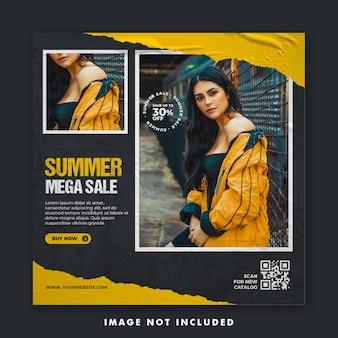 Summer fashion social media post banner template