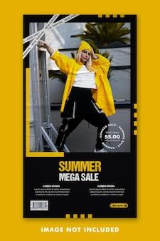 Summer fashion social media post instagram stories template