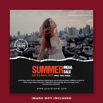 Summer fashion social media post template for girl