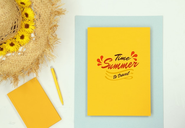Summer flat lay frame mockup with notes and straw hat