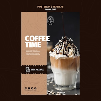 Summer frappe coffee poster template
