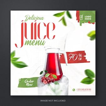 Летний свежий напиток сок фрукты социальные сети сообщение баннер дизайн шаблона