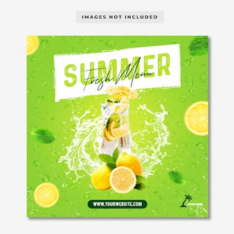 Summer fresh menu instagram post banner template