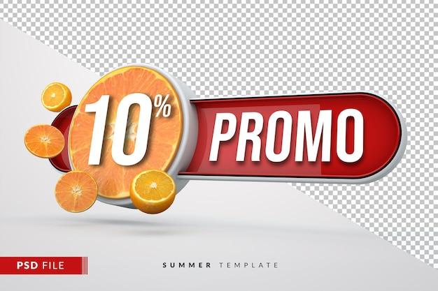 Летние фрукты промо 3d баннер с изолированным фоном Premium Psd
