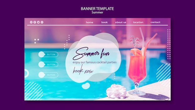 Summer fun banner template with photo