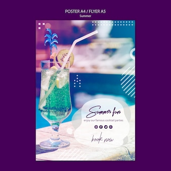 Summer fun flyer template with photo