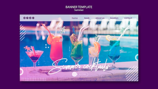 Summer fun horizontal banner template with photo