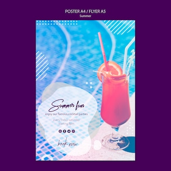 Summer fun poster template with picture