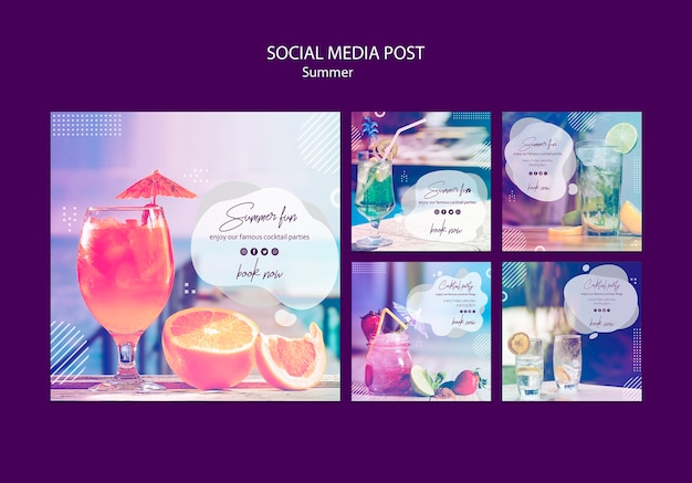 Summer fun social media posts templates with photo