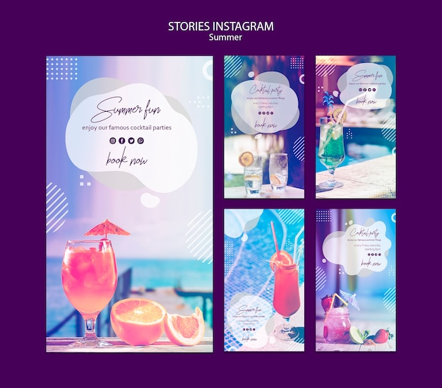 Summer fun stories templates with photo