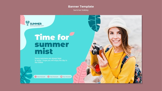 Modello di banner per le vacanze estive