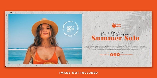 Summer holiday facebook cover banner template