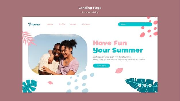 Modello di pagina di destinazione per le vacanze estive