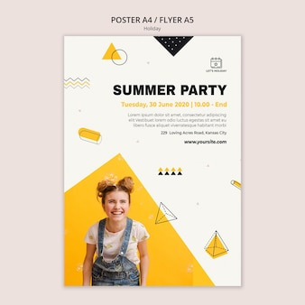 Summer holiday party poster template