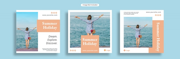 Summer holiday social media banner template or square flyer collection