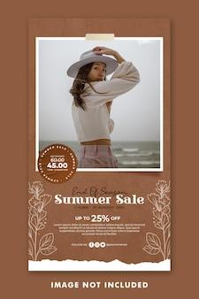Summer holiday social media post instagram stories template
