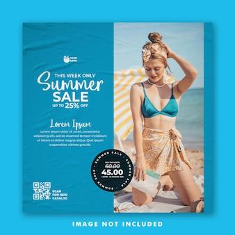 Summer holiday social media post template