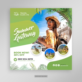 Summer holiday vacation post banner template
