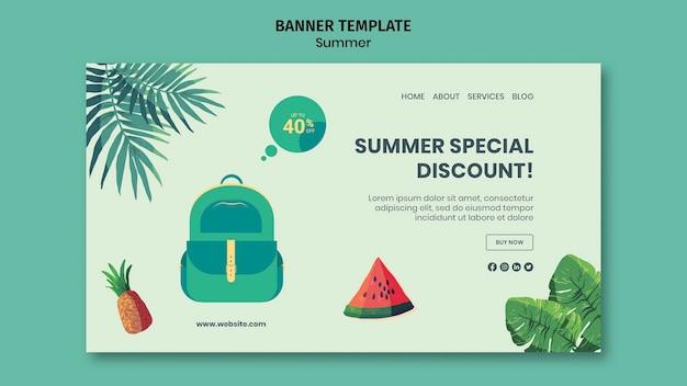 Summer horizontal banner template