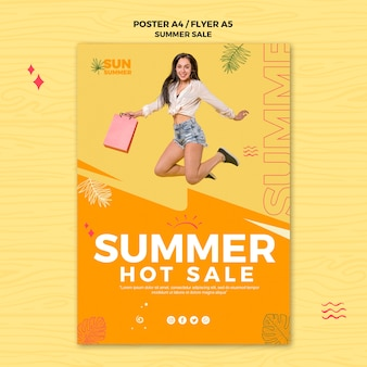 Summer hot sales poster template