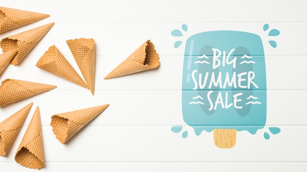 Summer ice cream composition with copyspace