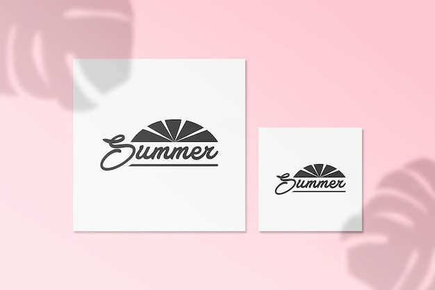 Summer instagram post card mockup with monstera shadow on a wall