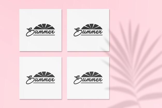 벽에 팜 그림자가있는 여름 인스 타 그램 엽서 모형