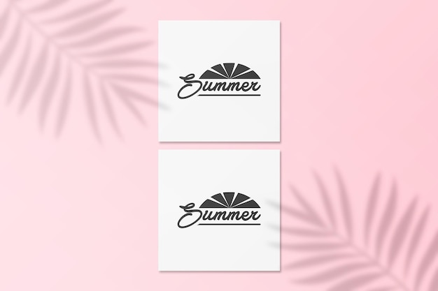 Summer instagram post card mockup with palm shadow on a wall