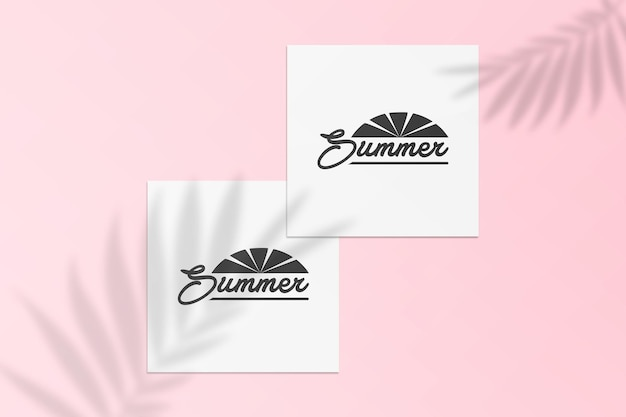 Summer instagram post card mockup with shadow on a wall