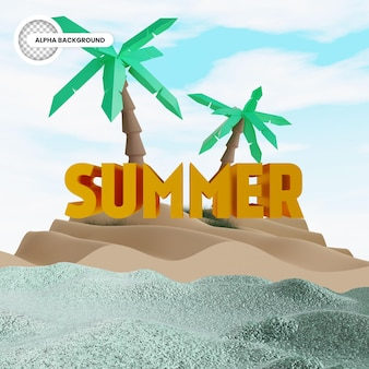 Summer island isolated 3d render
