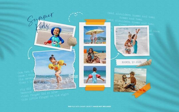 夏の子供たちのムードボードコラージュ写真のモックアップ