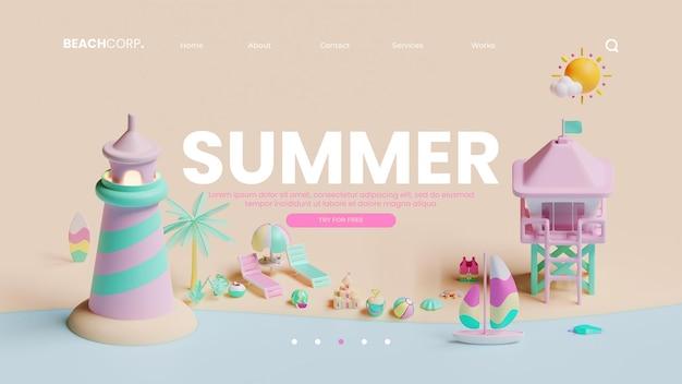 3d 렌더링 일러스트와 함께 여름 방문 페이지 템플릿
