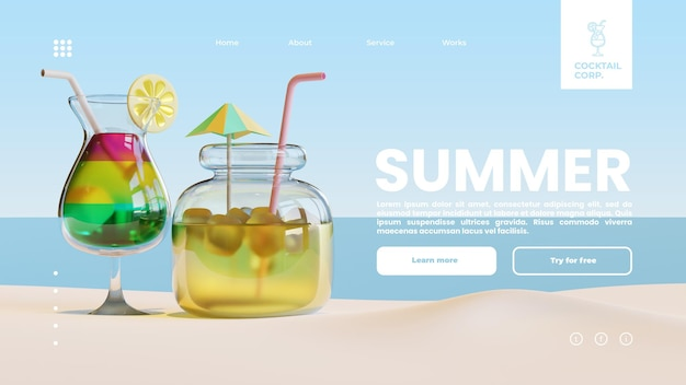 Summer landing page template with glass and jar 3d rendering