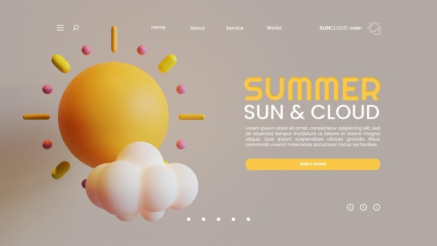 Summer landing page template with sun and cloud 3d rendering