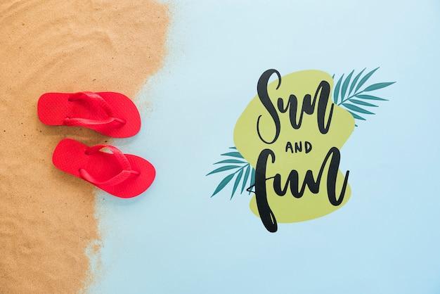 Summer lettering background with flip flops