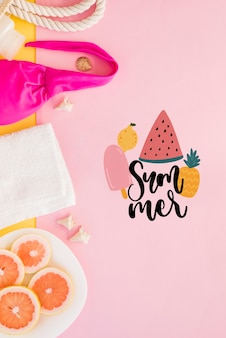 Summer lettering background with fruit