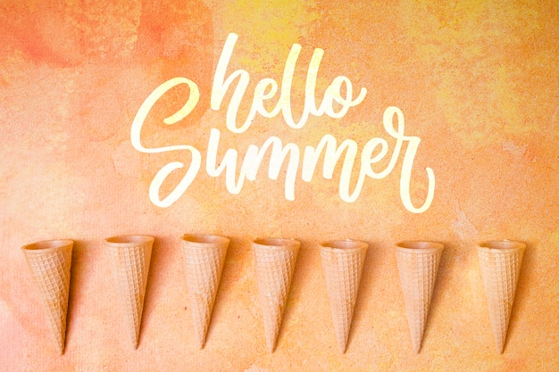 Summer lettering background with ice cream cone