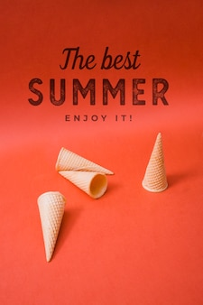 Summer lettering background with ice cream cones