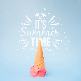 Summer lettering background with ice cream