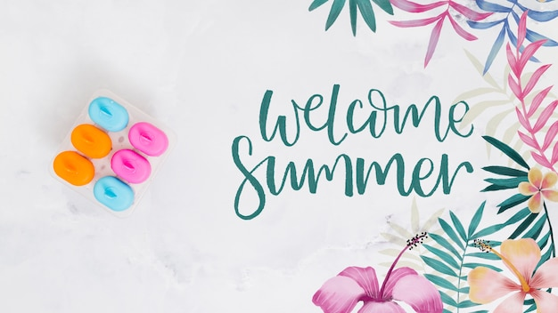 Summer lettering background with ice lollies