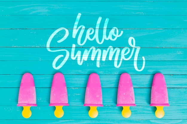 Summer lettering background with ice lolly