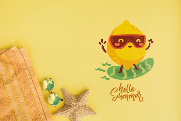 Summer lettering background with summer elements